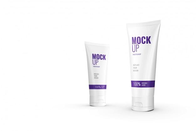 Maquette de tube de compression cosmétique publicitaire réaliste