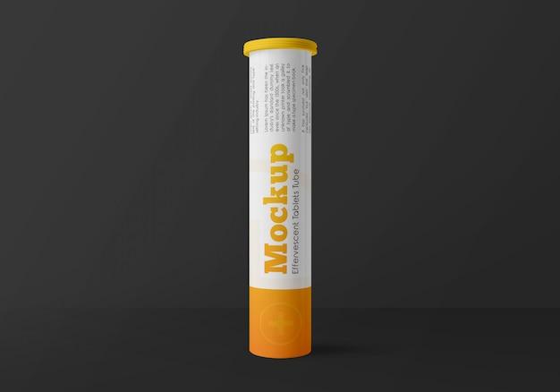 Maquette de tube de comprimés effervescents en plastique brillant