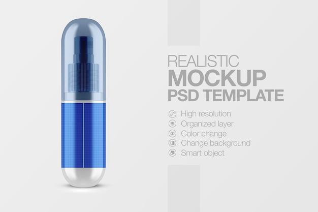 Maquette de tube de pulvérisation cosmétique réaliste avec capuchon transparent