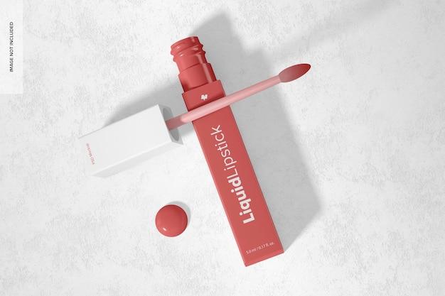 Maquette de tube de rouge à lèvres liquide, vue de dessus
