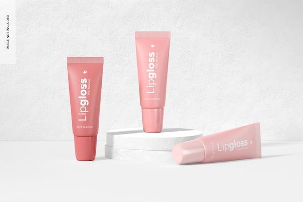 Maquette de tubes de brillant à lèvres, vue de face