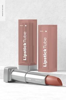 Maquette de tubes de rouge à lèvres métalliques, debout et tombés