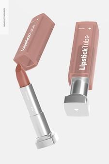 Maquette de tubes de rouge à lèvres métalliques, tombant
