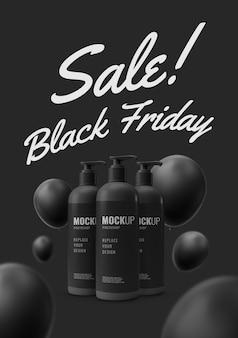 Maquette de vendredi noir de pompe à bouteille minimale