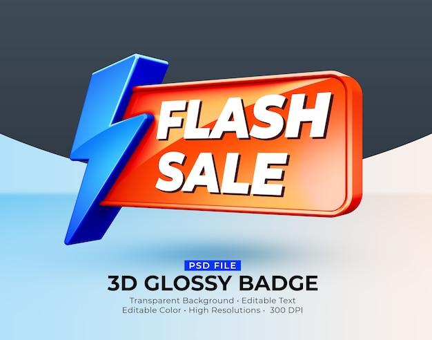 Maquette de vente flash 3d badge brillant brillant