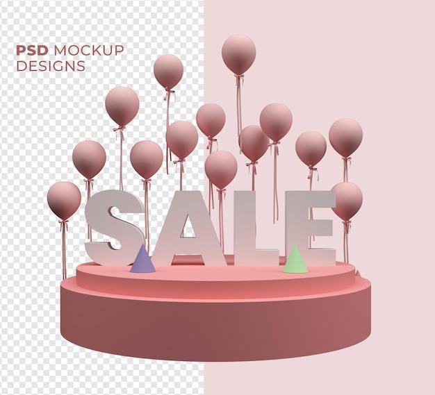 Maquette de vente de texte 3d et ballon isolé