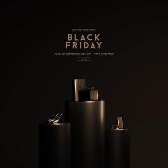 Maquette de vente vendredi noir dans le rendu 3d