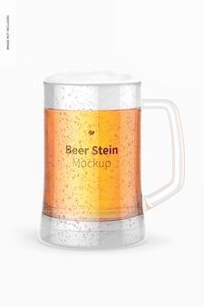 Maquette de verre de chope de bière, vue de face