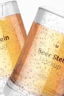 Maquette de verres à bière stein, close up