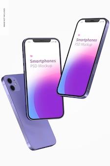 Maquette de version violette pour smartphone, flottante