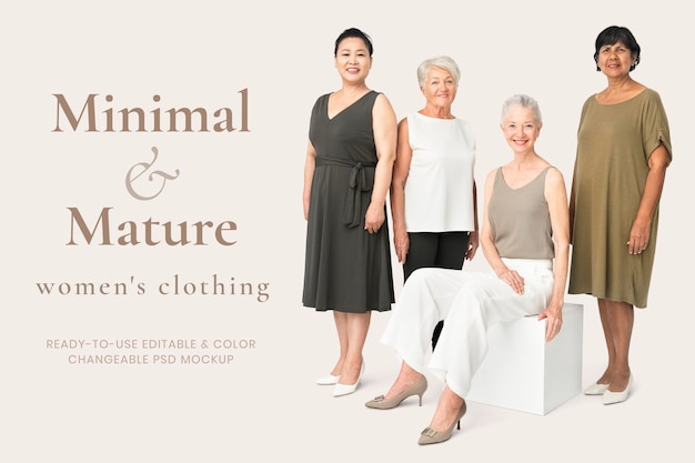 Maquette de vêtements pour femmes modifiable psd dans une annonce de style minimal et mature