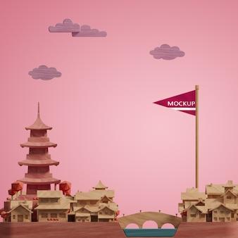 Maquette des villes 3d des bâtiments de la journée mondiale miniature