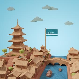 Maquette des villes 3d des bâtiments de la journée mondiale modèle miniature