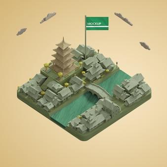 Maquette des villes 3d modèle de bâtiments de la journée mondiale