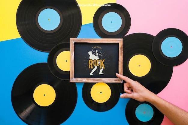 Maquette de vinyle avec ardoise