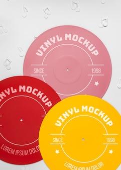 Maquette de vinyles colorés vue de dessus