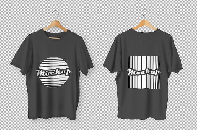 Maquette de vue avant et arrière de t-shirts noirs