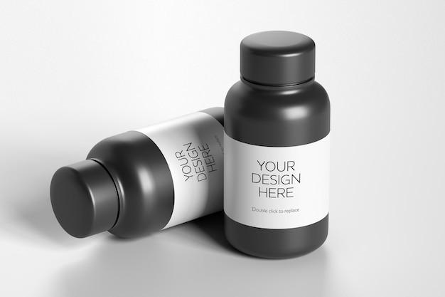 Maquette vue d'un conteneur de vitamines - rendu 3d