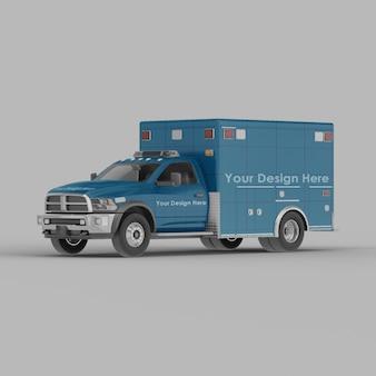 Maquette de vue demi-côté avant ambulance isolée