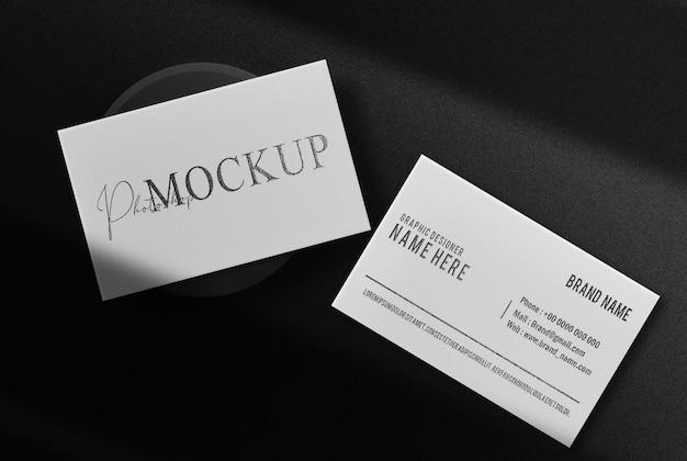 Maquette de vue de dessus de carte de visite en relief noir de luxe