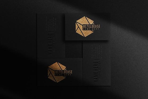 Maquette de vue de dessus de carte de visite en relief or de luxe