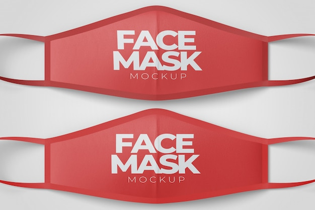 Maquette de la vue de dessus des masques faciaux