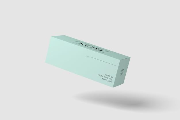 Maquette de vue de mouche d'emballage de boîte horizontale