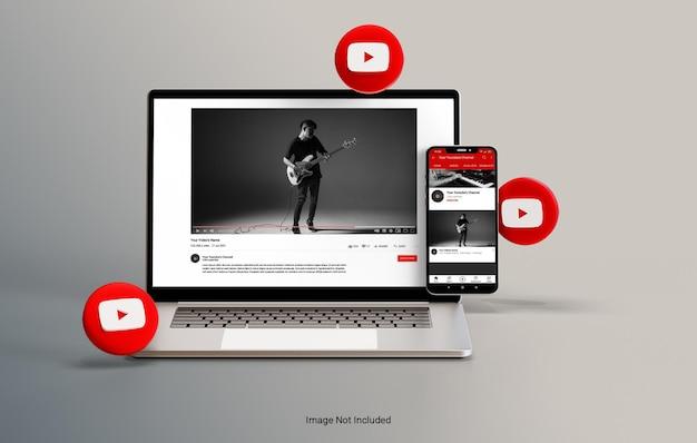 Maquette de vue pour ordinateur portable et smartphone youtube en rendu 3d