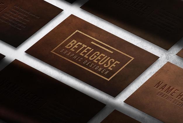 Maquette de vue prospective de carte de visite en cuir de luxe