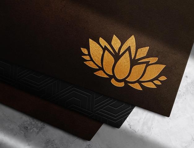 Maquette de vue prospective en cuir gaufré or de luxe