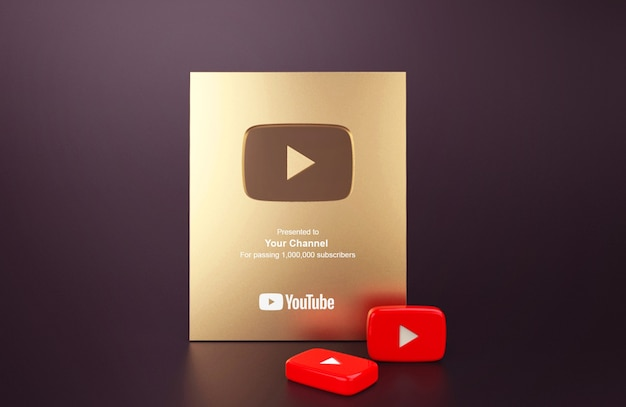 Maquette youtube bouton de lecture or