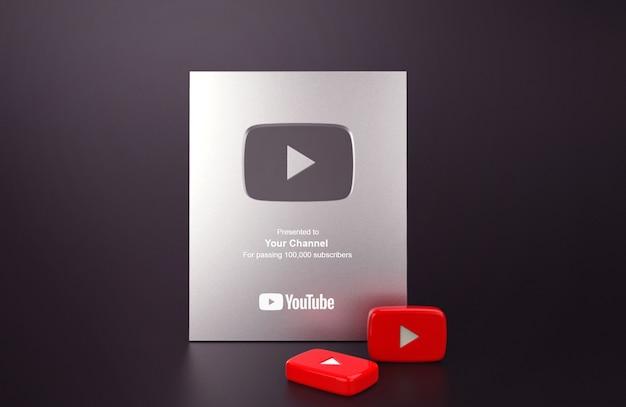 Maquette youtube du bouton de lecture argenté