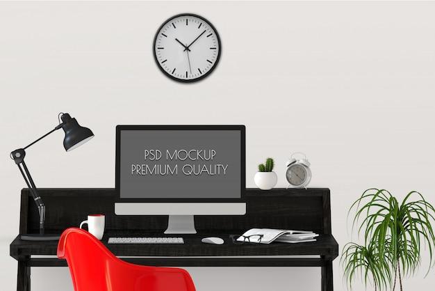 Maquette de la zone de travail avec un ordinateur de bureau. rendu 3d