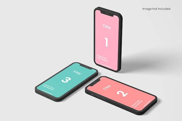 Maquettes d'applications d'argile pour smartphone