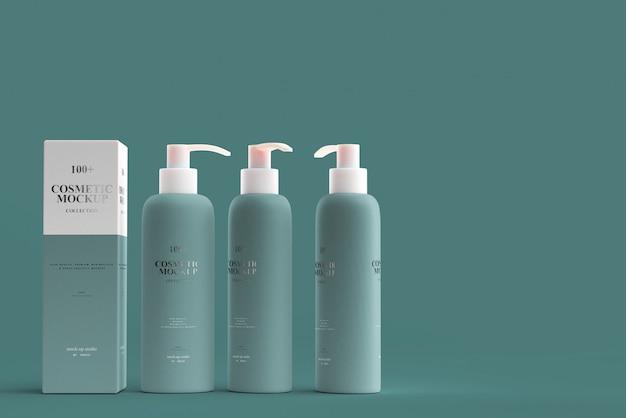 Maquettes de bouteilles de pompe cosmétique