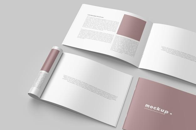 Maquettes de brochure de paysage isolées