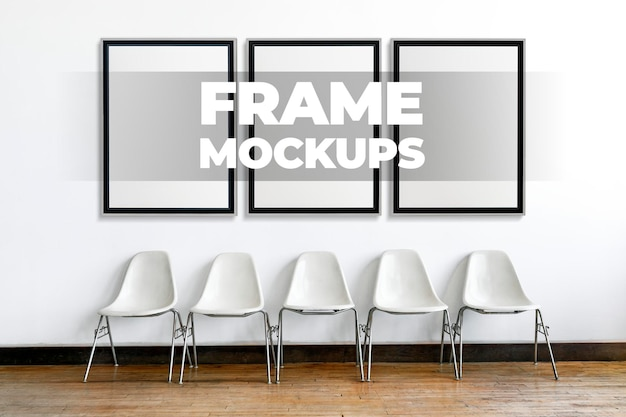 Maquettes de cadre psd d'affilée sur un mur