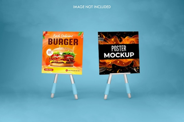 Maquettes créatives de flyers et d'affiches en bordure de route