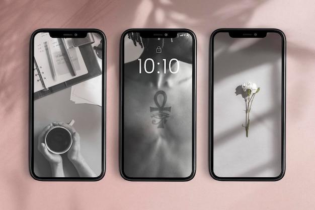 Maquettes d'écran de téléphone portable vitrine de produits psd