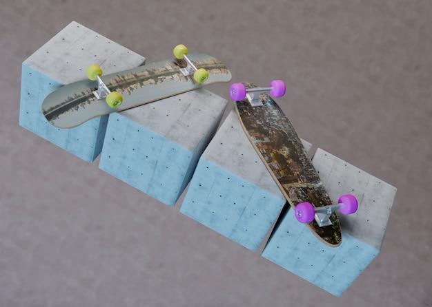 Maquettes de skateboards posés sur des cubes