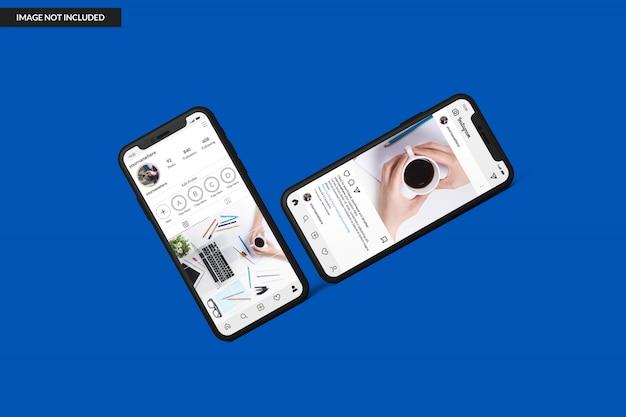 Maquettes de smartphone pour afficher le modèle de publication instagram