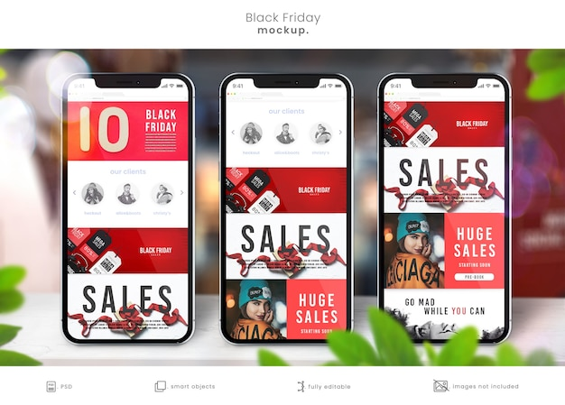Maquettes de smartphones sur table de magasin pour les ventes du vendredi noir