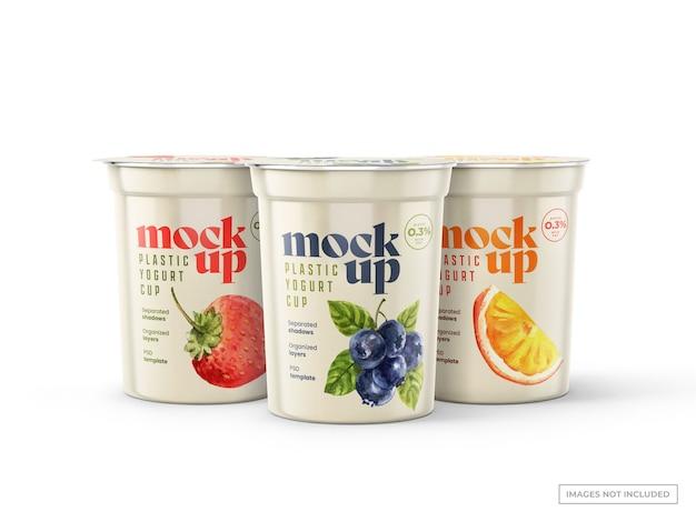 Maquettes de tasses de yogourt