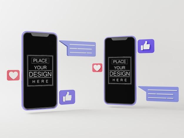 Maquettes de téléphone intelligent à écran blanc avec chats sur les médias sociaux