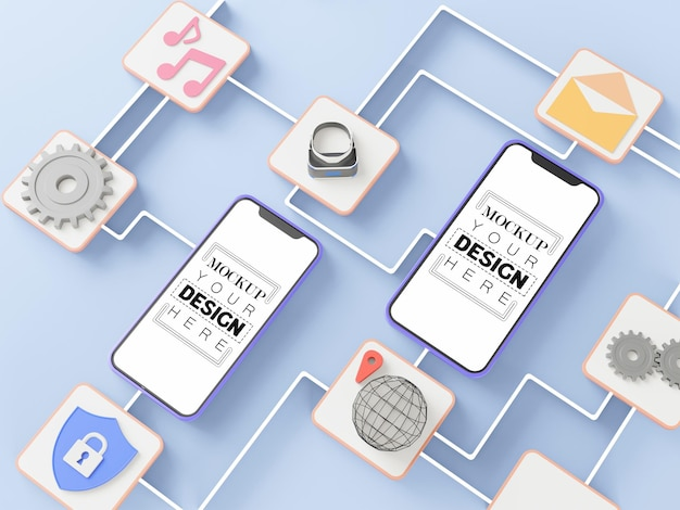 Maquettes de téléphone intelligent à écran blanc avec connexions