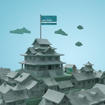 Maquettes de villes 3d bâtiments de la journée mondiale