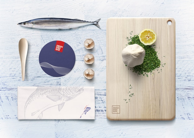 Maquillage des éléments d'identité d'entreprise de la cuisine japonaise