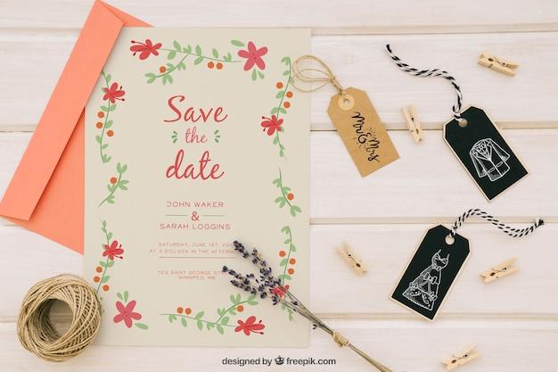 Le mariage se moque de l'invitation et des compléments