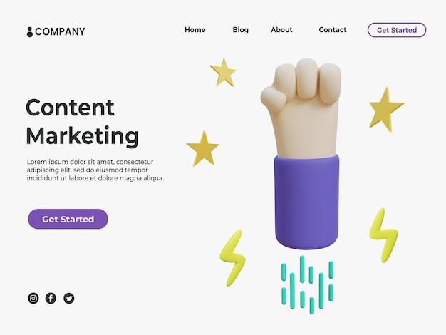 Marketing de contenu 3d avec une main colorée avec des étoiles et une illustration éclair pour la page de destination