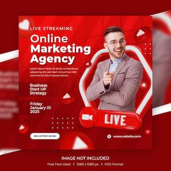 Marketing numérique en direct et publication sur les réseaux sociaux d'entreprise avec modèle 3d